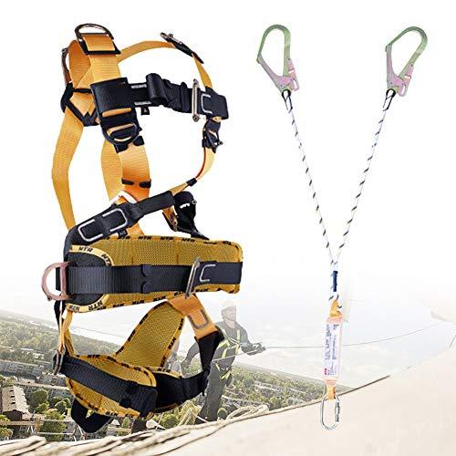 ZPCSAWA Absturzsicherung Klettergeschirr, 5-Point Sicherungsgurt Dachdecker, Langlebig und Stark Sicherheitsgurt Absturzsicherung, Comf Hosenträgergurt (Color : Double Rope)