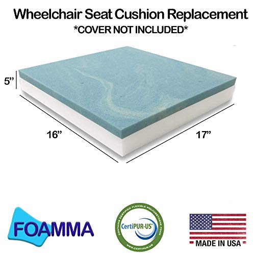 """foamma Gel Memory Foam Wheelchair Seat Cushion Replacement for Coccyx, Orthopedic Back Support, 5"""" x 16"""" x 17"""" Centipur-US Certified, Cover Not Included"""