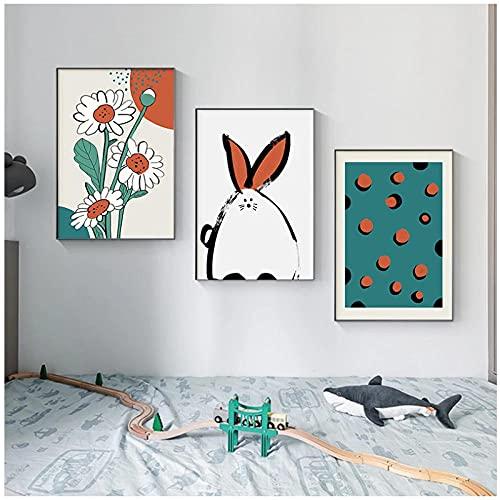 Carteles e impresiones de dibujos animados de conejo flor lienzo pintura guardería bebé niña dormitorio decoración regalo 50x70cmx3 sin marco