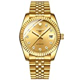 Automatic Men's Watch Luxury Mechanical Two Tones Watches for Men Waterproof Stainless Steel Wristwatch Luminous Dial (Full Gold 8515)