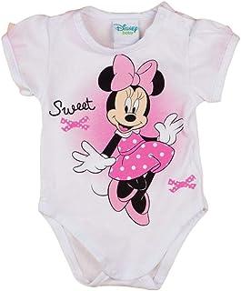 Minnie Mouse Mädchen Baby Body Kurzarm in Gr 56 62 68 74 80 86 in Weiß, elegant und süß, von Disney ideal auch für Geburtstagsparty bis 1 Jahr, 0-6 Monate