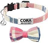 TagME Katzenhalsband mit Namen, Katzenhalsband mit Glöckchen, Katzenhalsband Sicherheitsverschluss 1 Packung, Rosa