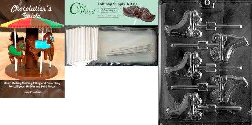 Cybrtrayd Rollschuhe Lolly Schokolade Form mit Chocolatier 's Bundle, inkl. 25Lollipop Sticks, 25Cello Taschen, 25silber Twist Krawatten und Chocolatier 's Guide