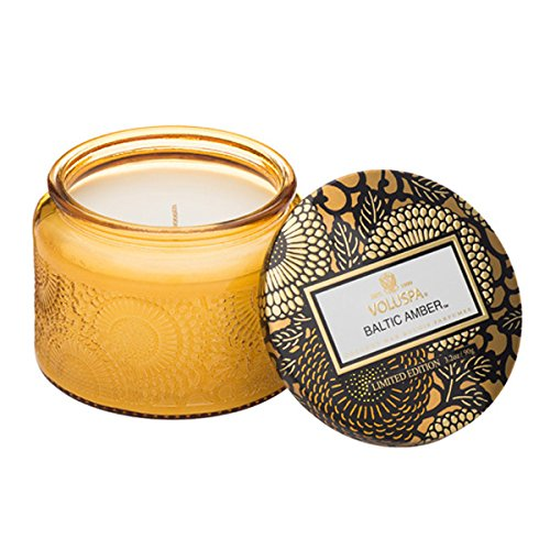 Voluspa Baltic Amber Small Embossed Glass Jar Candle, 3.2 Ounces