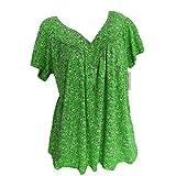 Blusa para mujer con estampado de flores, cuello en V, blusa de verano, tallas grandes, camiseta holgada, blusa de manga corta verde S