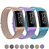 3 Pack Metal Bands for Fitbit Charge 4 & Charge 3 & Charge 3 SE, Stainless Steel Magnetic Lock Replacement Bands for Charge 4 Women Men Small Large (Small, Rose Gold+Violet+Light Blue)