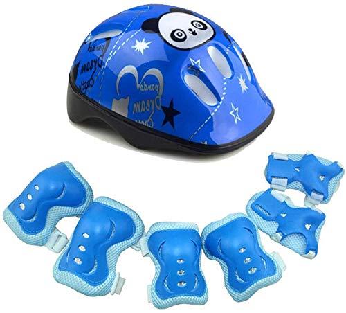Dengofng Kinder Außen Sport Schutzausrüstung Set Süß Panda Muster Helm+ Knieprotektor+Ellenbogen Protektor+Handgelenk Schutz für 3 zu 8 Year-Old Kinder Skateboarding,Skating,Scooter,Fahrrad