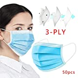 NEWMARK Disposable Face Mask for Air Pollution,Dustproof Mouth Cover, Men Women Adult Child 3-ply Safety Mask for Work and Home (50)