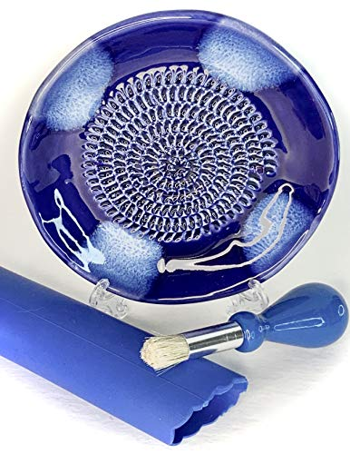 BonCera, All-in-one 4pcs Premium Ceramic Garlic Grater Set - Hand-Made, Blue Glazed Design Grater Plate w/Garlic Peeler, Gathering Brush, Display Stand, It's also grating Turmeric, Ginger, and more,