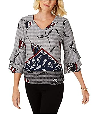 NY Collection Women's Petite Layered Bell-Sleeve Top (Black Grid, P/Small)