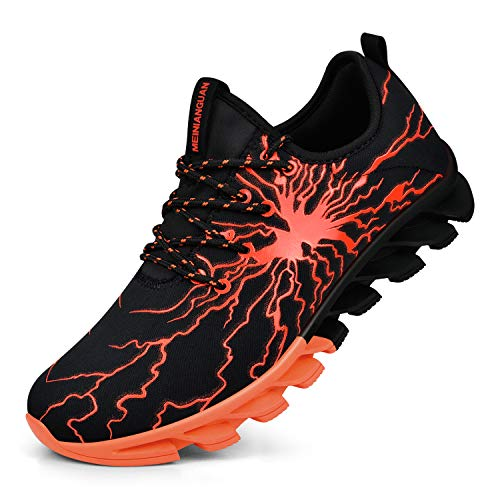 Honnesserry Mens Walking Shoes Comfort Slip on Best Casual Sport Bowling Fitness Athletic Road Trail Cushioned Running Sneakers Black/Orange 8