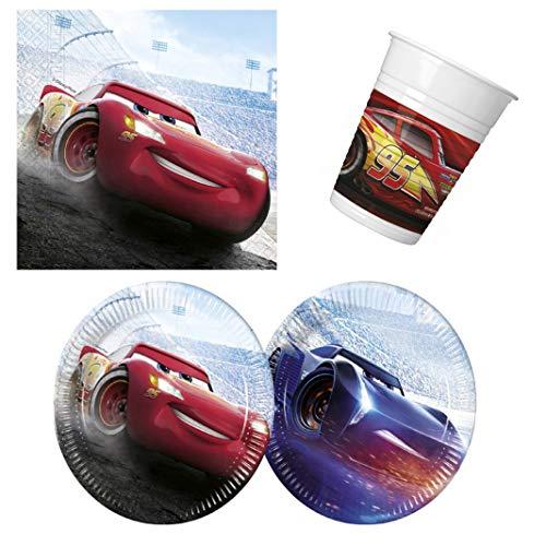 Disney Pixar Cars Lightning McQueen Final Race - Vajilla de mesa (36 piezas, servilletas, vasos de cartón, para 8 niños)