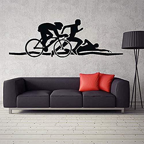 Adesivi murali Triathlon Atletica leggera Wallpaper Nuoto Corsa Ciclismo Trasferimento Adesivi murali Vinile Arti decorative Adesivi sportivi per bambini 126x42cm