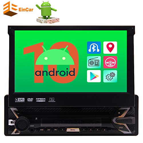 EinCar Single Din Car Stereo Bluetooth Radio for Car Android 10.0 GPS Navigation System 1 Din 7 inch Touch Screen 1GB RAM + 32 GB ROM Head Unit Video in Dash with WiFi USB Mirrorlink FM AM SWC