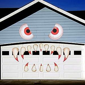 CHALA Pegatinas de Patrón de Monstruo, Cara de Monstruo de Halloween Doble Cara Impermeable PVC Stickers Ojo de Zombie Terror con Colmillos/Ojos/Nariz para Ventanas/Pared/Porche/Puerta de Garaje/Fies