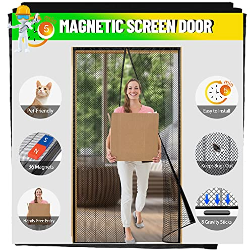 LABIGO Magnetic Screen Door,36x83 inch Polyester Screen Doors with 36 Magnets Fits Door Size up to 34'x 82', Heavy-Duty Mesh Curtain with Full Frame Hook & Loop for Sliding French Door, Hands Free