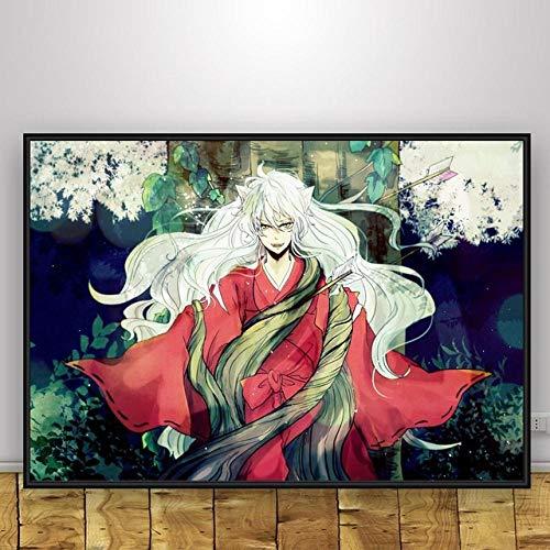 DIY 5D Pintura de Diamantes 5D Punto de Cruz,Impresiones nórdicas pintura arte de pared Japón Anime Inuyasha carteles para decoración moderna del hogar lienzo sala de estar imágenes modulares No