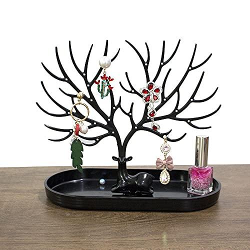Exhibición de árbol de ciervos con agujero para pendientes, collar, pulseras, estuches de joyería y soporte de exhibición, bandeja de almacenamiento para regalos de joyería (color negro)