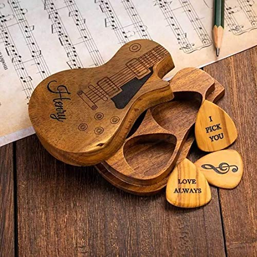 Customizable Three Personalized Guitar Pick Holder, Phoenix Tang is A Unique Music Gift for Folk/Electric Guitars