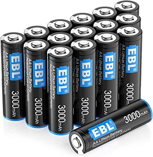 EBL 1.5V AA Batterie Monouso, 3000 mAh Stilo AA con Durata Lunga, Confezione da 16 pezzi