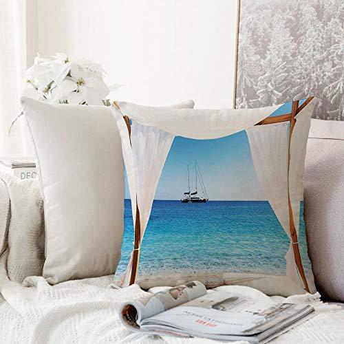 Kissenhülle Super Weich Home Decoration,Balinesischen Dekor, Strand durch ein balinesisches Bett Sommer Sonnenschein klarer Himmel Flitterwochen natür,Pillowcase Sofakissen für Wohnzimmer Sofa Bed