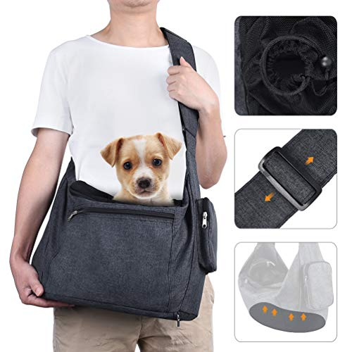 Petacc Pet Dog Sling Carrier with Bottom Bearing Board for Small Dogs Cats up to 10lbs, Hands-Free...