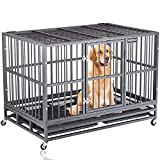 Heavy Duty Dog Crate Strong Metal Pet Kennel Playpen on Lockable Wheels, Large Dog Cage Steel with Prevent Escape Locks for Medium & Large Dogs Indoor Outdoor