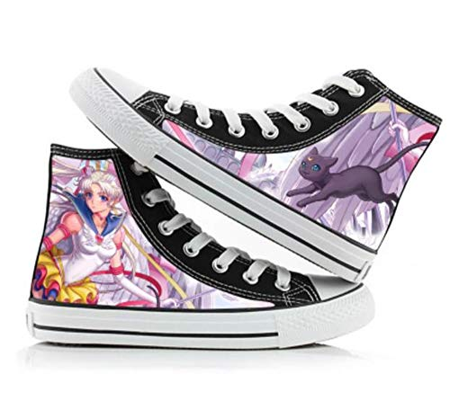 JPTYJ Sailor Moon Alpargatas para Hombre Anime High Top Canvas Shoes Sneakers Trainers Cosplay Botines para Hombres Mujeres A-41