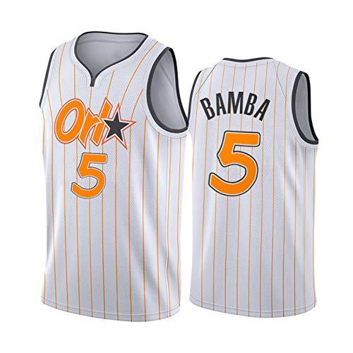 LXLX 2021 camisetas de baloncesto, Orlando 5# Bamba Baloncesto Entrenamiento Ropa Deportiva y Ocio Secado Rápido y Transpirable Sin Mangas Chaleco (S-XXL), Blanco S