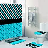 dodouna Blaue Polka Dots Zebra Print Duschvorhang Set Blaugraue Streifen Und Punkte Badevorhänge Für Badvorhänge Teppiche Teppich Dekor 180x180cm
