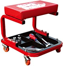 Torin TR6300 Red Rolling Creeper Garage/Shop Seat: Padded Mechanic Stool with Tool Tray