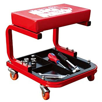 Torin TR6300 Red Rolling Creeper Garage/Shop Seat  Padded Mechanic Stool with Tool Tray