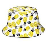 Bonito Sombrero de Cubo Unisex de piña Amarilla con patrón, Sombreros de Pescador, Gorra Plegable Reversible de Verano para Mujeres, Hombres, niñas y niños