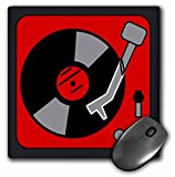3drose Retro Red and Black Record Player - Mouse Pad