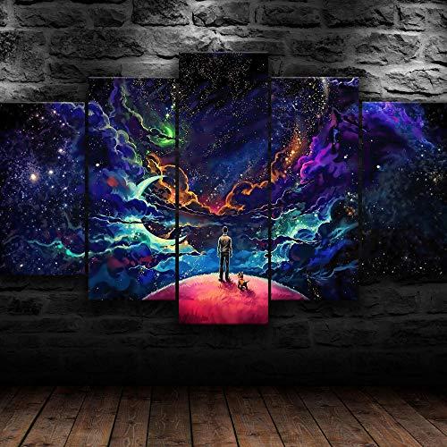 ADKMC Cuadros Modernos Impresión de Imagen Artística Digitalizada | Lienzo Decorativo para Tu Salón o Dormitorio | Espacio Abstracto Hombre Perro neón | 5 Piezas 200x100cm(Sin Marco)