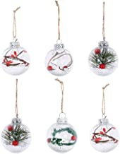 Toyvian 6Pcs Christmas Ball Ornaments Craft Shatterproof Clear Plastic Xmas Balls Bauble with Artificial Snow Berry Rattan...