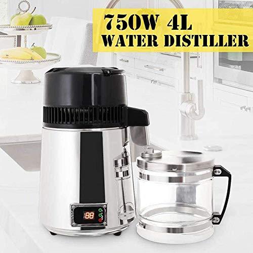 Wasser-Destillierapparat, Aufsatz- Wasser Distiller 745W Digital Panel Edelstahl Purifier Filter 4L Glasbehälter Perfekt for den Heimgebrauch ZHNGHENG