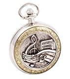 Shoppewatch Pocket Watch Music Symbols Roman Numeral with Chain for...