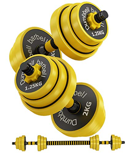 AJAYR Adjustable Dumbbell Weight Set with Connector, Dumbbell Barbell 2 in 1,12,15,19,25,30,32,44 Lb