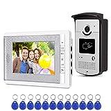 uoweky Sistema de Control de Acceso de la Cámara RFID del Teléfono de la Puerta de Intercomunicación de Video en Casa + 10pcs ID Blue Keyfob (1 cámara 1 monitor)