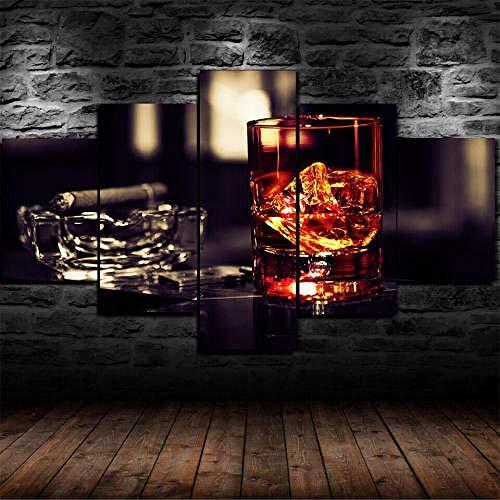 Impresión Hd Pintura 5 Piezas Cuadro En Lienzo,150X100 Cuadros Modernos Salón Decor Pared Canvas Prints Wall Art Modular Poster Mural Decorativo Rocas Hielo Para Fumar Cigarros Whisky Regalo Navidad