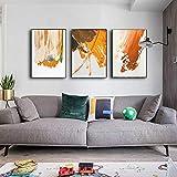SXXRZA Imagen de póster 3 Piezas 30x50 cm sin Marco Moderno Abstracto Naranja Rojo Negro Pintura Nordic Simplicidad Marcos de Lienzo Marcos de Pared para Sala de Estar decoración del hogar