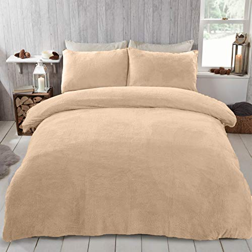 Brentfords Teddy Fleece Duvet Cover with Pillow Case Thermal Fluffy Warm Soft Bedding Set, Natural Sand, Superking