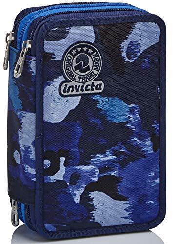 Astuccio 3 Scomparti Invicta , Camo Shade, Blu, Completo di matite, penne, pennarelli…