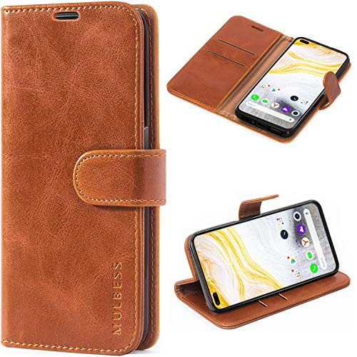 Mulbess Vintage Case for Realme 6 PRO, Cover Realme 6 PRO Leather, Realme 6 PRO Flip Book Cover, Wallet Case for Realme 6 PRO, Cognac Brown
