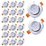 Faziango LED Einbaustrahler Set Kaltweiß Badeinbaustrahler 20x 3W LED Modul 245lm 230V ultra Flach Spots Ø70 mm Lochbohrung LED Einbauleuchten für Bad, Küche, Möbel, Außen