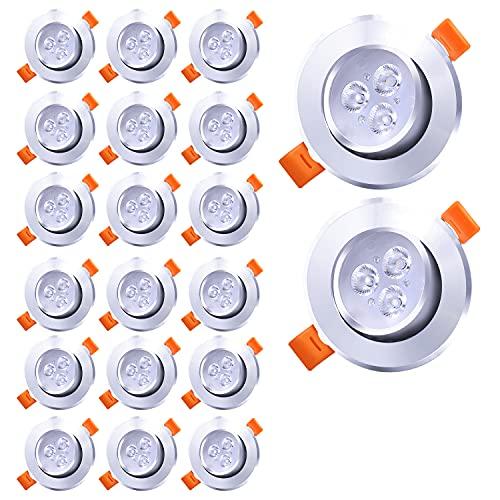 Faziango Lot de 20 Spot LED Encastrable 3W Blanc Froid 6000K 245LM Spots de Plafonnier Encastré Equivalent 40W incandescence pour Salon, Salle de Bain, Cuisine