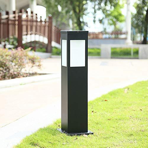 Retro Wegeleuchte Außen-Lampe Sockelleuchte Schwarz Aluminium und Glasschirm Standleuchte Vintage E27 Aussen-Lampe Wasserdicht IP44 Gartenlampe Eckig Design Stehleuchte Wegelampe Höhe 60CM