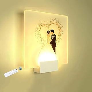 YLCJ LED Wandleuchte Innen Wandlampe Weiß 8W Modernes Acryl Romantische Hochzeit Design Für Flur Treppenhaus Wohnzimmer Schlafzimmer,8W (Fernbedienung)[Energieklasse A++]