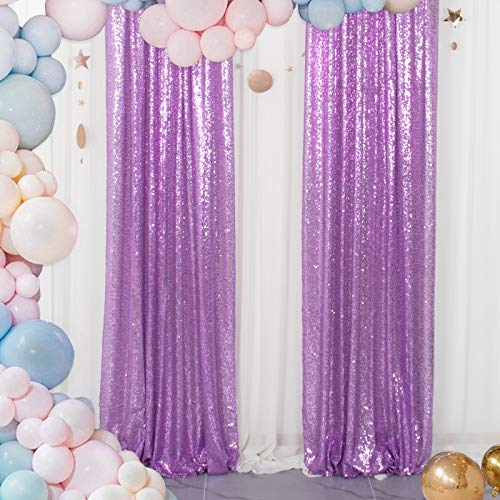 Sequin Curtains 2 Panels Lavender 2FTx8FT Sequin Photo Backdrop Sequin Backdrop Curtain Pack of 2 -1011E